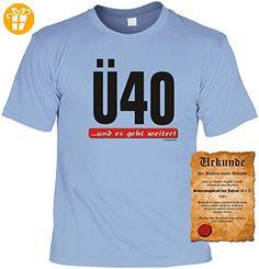 Zum 40.Geburtstag lustiges Geburtstags T-shirt : Ü40 und es geht weiter! mit Gratis Urkunde !Gr:XXL Fb:hellblau - Shirts zum 40 geburtstag (*Partner-Link)