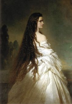 Sisi with her hair down portrait by Franz Xaver Winterhalter Elisabeth of Austria (due to the movie also known now as Sissi, Franz Xaver Winterhalter, Empress Sissi, The Empress, Kaiser Franz Josef, Elisabeth I, Kunsthistorisches Museum, Loose Hairstyles, Bavaria, Beautiful Paintings