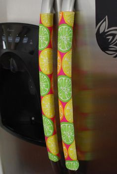 diy velcro refrigerator handle covers - Good idea when you have children around, but would need a couple of sets for washing.
