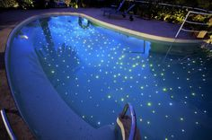 Stars in the pool - fiber optics in the bottom tub with mosaic tiles