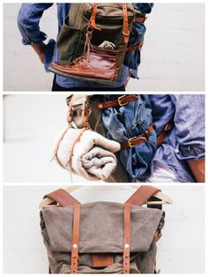 backpack jeans canvas leather combined materials and colors Mk Bags, Mens Fashion Shoes, Outdoor Woman, Gentleman Style, World Of Fashion, Men's Fashion, Stylish Men, Bradley Mountain, Backpack Bags