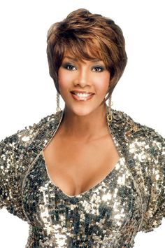 """Vivica A. Fox Pure Stretch Cap - H311 9"""" SHORT PIXIE WITH ANGLE POINTED SIDE Color Shown: FS4/27 This short pixie cut gives this style a distinctive chic appeal. Hair Type: 100% Human Hair Style: Stra"""