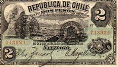 Dos Pesos - Chile Chile, Banknote, Monet, South America, Ephemera, Vintage World Maps, Nostalgia, Stamp, Prints