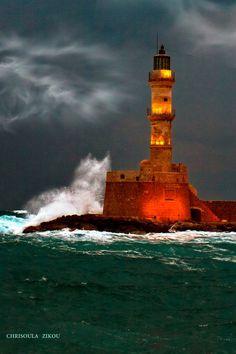 Stormy Hania Lighthouse, Crete.