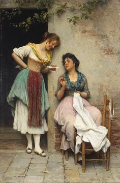 Eugen von Blaas (1843-1931)  The love letter 1897  Oil on panel