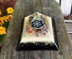 Orgonite Pyramid SEED OF LIFE Amethyst Apatite by 432oneness