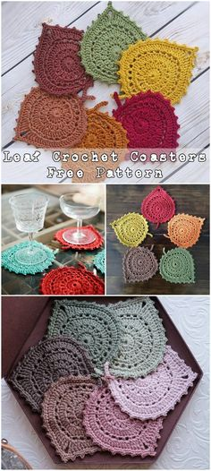 Leaf Crochet Coasters - Free crochet Pattern #crochet #homedecor