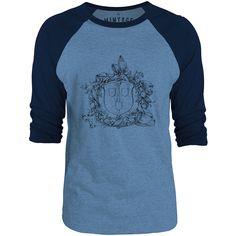 Mintage Shield and Wreath 3/4-Sleeve Raglan Baseball T-Shirt (Cobalt Marle / Navy)