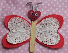 Kids Valentine Craft:  Fluttering Hearts Butterfly