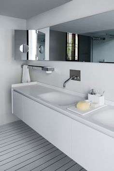 modern bathroom with sleek vanity Modern White Bathroom, Minimalist Bathroom, Contemporary Bathrooms, Beautiful Bathrooms, Small Bathroom, Bedroom Modern, Bad Inspiration, Bathroom Inspiration, Basin Design