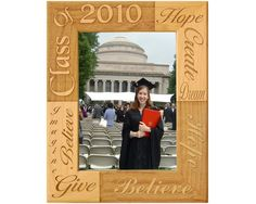 Graduation picture frames from GiftWorksPlus are made from natural alder wood and engraved with words of encouragement for the graduate along with the grad year. Graduation Picture Frames, Graduation Pictures, Picture Engraving, Positive Words, Words Of Encouragement, Bookends, Highlights, Touch, Natural