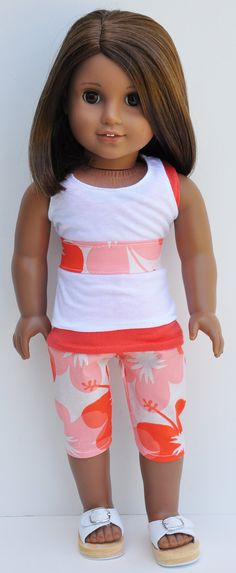 Nice American Girl Doll Outfit Capri Sandals Tank Dolls & Bears