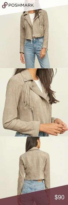 Vegan Suede jacket Super soft faux suede jacket with fringe details.  No flaws- perfect condition- Worn 1 time for a few hours!! Abercrombie & Fitch Jackets & Coats