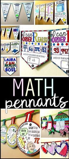 Math pennants are a fun way to decorate a math bulletin board with student work. In this post are all of the math pennants I have made for elementary school, middle school and high school. Elementary Bulletin Boards, Math Bulletin Boards, Elementary Math, Math Boards, Algebra Activities, Teaching Math, Math Games, Maths Algebra, Math Math