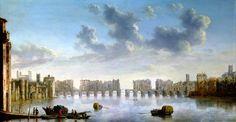 A prospect of Old London Bridge as it appeared c.1630.