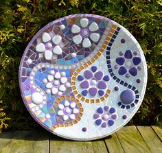 Glas mozaiek schaal paars goud en wit