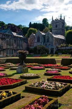 The gardens and chapel of the Victorian country house, Lanhydrock in Cornwall.