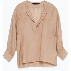 Zara Romantic Studio Shirt (€19) ❤ liked on Polyvore featuring tops, blouses, shirts, long sleeves, nude, shirt blouse, zara blouses, seashell top, zara shirts and shell shirt