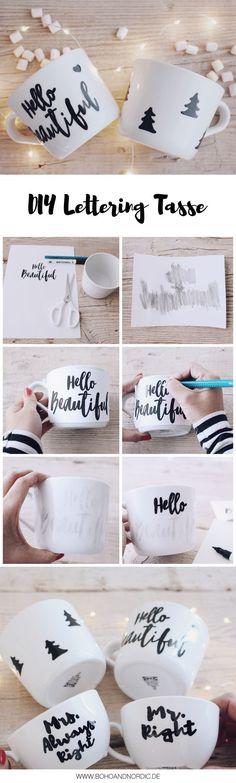 DIY einfache Weihnachtsgeschenke – Individuelle Tassen selber gestalten - Porzellan bemalen - Mug Lettering #basteln #selbermachen #geschenke