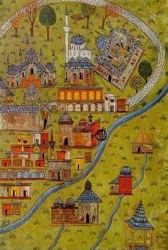 Plan of Eskisehir- The Miniatures of Matrakci Nasuh Istanbul University Library. Islamic Paintings, Turkish Art, Painting Collage, Old Maps, Prince, Medieval Art, Illuminated Manuscript, Map Art, Ancient Art