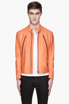 Maison Martin Margiela Orange Heavy Leather Jacket