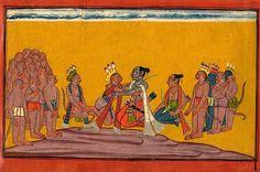 'On hearing about the mighty deeds of the monkeys gathered by Sugriva, Rama embraces him…' Shangri Ramayana, Book IV, Kishkindhakanda, Chapter 39, Sarga (Verse) 9, Folio 142; India (Kulu or Bahu), c. 1709.