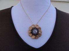 Flower pendant beaded flower pendant gold and by JBHDesigns
