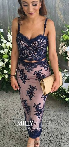 Blue Prom Dresses Pink, Two Piece Formal Evening Dresses Long, Tulle Military Ball Dresses Sweetheart, Sheath Pageant Graduation Party Dresses Lace #MillyBridal #pinkdresses #bluedresses #twopiecedresses