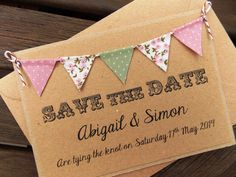 Save The Date Lace Bunting Wedding Invitation, Country Fete Rustic Summer Wedding Kraft Card Elegant Wedding Invitations, Rustic Invitations, Printable Wedding Invitations, Wedding Stationery, Invites, Lace Bunting, Fabric Bunting, Summer Font, Happy Party