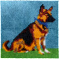 Create this handsome portrait of a shepherd by connecting four large square pegboards to make a bigger design space. Look for the other dogs in this series! Cross Stitch Art, Cross Stitch Alphabet, Hama Beads Patterns, Beading Patterns, Perler Bead Art, Perler Beads, Pixel Art Grid, Beaded Banners, Iron Beads
