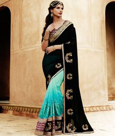 Buy Black Chiffon Half and Half Saree With Blouse 71462 with blouse online at lowest price from vast collection of sarees at Indianclothstore.com.
