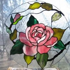 Rose in the round Camellia stained glass Stained Glass Quilt, Stained Glass Ornaments, Stained Glass Suncatchers, Stained Glass Flowers, Faux Stained Glass, Stained Glass Panels, Stained Glass Projects, Painting On Glass Windows, Glass Painting Designs