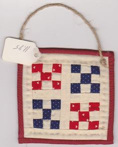 Small Mini 4-inch x 4-inch Pieced Quilt Wall Hanging
