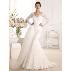 Unique Square Chapel Train Lace Trumpet Mermaid Bridal Wedding Dress... (€230) ❤ liked on Polyvore featuring dresses and wedding dresses