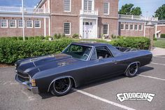 "What's better than an #ElCamino? How about a custom big-block El Camino on air bags and #Forgeline wheels! Eric Boily's ""#BlessedPersistence"" 1971 #Chevy El Camino was built by Roger Ouellet of Showtime Muscle Cars in Laval, Canada. It's powered by a 650HP 540ci fuel-injected Nelson Racing Engines big block and rides on RideTech ShockWaves air suspension, Wilwood brakes, and 18x7/19x9 Forgeline #RB3C wheels finished with Satin Black centers & Polished outers!  Photo courtesy of #Goodguys."