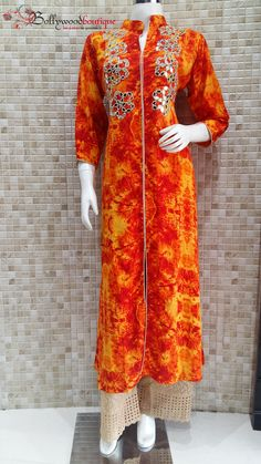 Ethnic Wear Designer Long Kurti With Mirror Embroidery & Chicken Palazzo ‪#‎Ethnic_Wear‬ ‪#‎Mirror_Embroidery‬ ‪#‎Batik_Prints‬ ‪#‎Chicken_Palazzo‬ ‪#‎BollywoodBoutique‬ ‪#‎Bollywood_Boutique‬ ‪#‎Bollywood_Boutique_Hoshiarpur‬