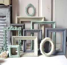 Mint Green and Gray Painted Picture Frames Made to ORDER Set of 10 Vintage Frames  Sea Glass Green  Grey and Ivory Frames  Ornate Frames by WillowsEndCottage on Etsy https://www.etsy.com/listing/178742516/mint-green-and-gray-painted-picture
