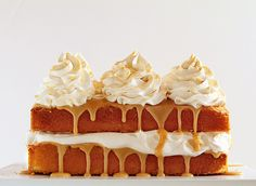 caramel cake with apple cider whipped cream ~ http://iambaker.net