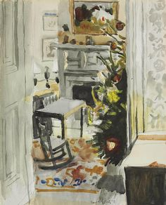 """""""Christmas Morning,"""" Fairfield Porter, 1971, watercolor and pencil on paper, 20 x 16"""", private collection."""