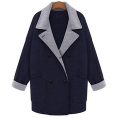 Yoins Yoins Plus Size Navy Double-Breasted Duster Coat (€60) ❤ liked on Polyvore featuring outerwear, coats, navy, duster coat, lapel coat, double-breasted coat, womens plus size coats and blue coat