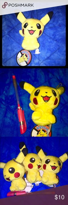"""Pikachu keychain This is made to be a plush for your keychain he is small. 3"""" see pics with a pen. Price is for one. He's super cute authentic tag says Pokémon Game Center and Nintendo. I do bundle for great discounts. Pokemon Accessories Key & Card Holders"""
