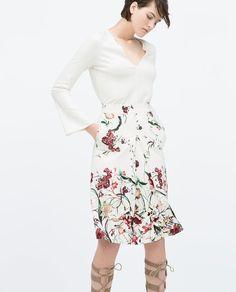 Front pleated print skirt, Zara $80