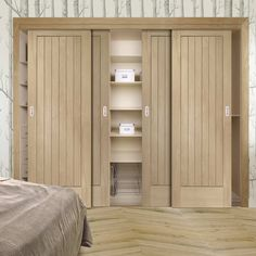 Thruslide Suffolk Oak 4 Door Wardrobe and Frame Kit - Lifestyle Image. #slidingdoors #oakdoors