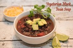 Vegetarian black bean soup is a quick and easy weeknight meal ready in under 30 minutes and great for vegetarians, vegans, gluten free diets.