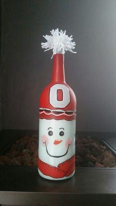 Ohio state snowman wine bottle