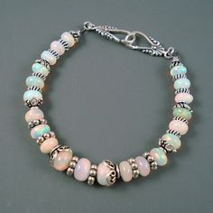 Opal Bracelet, Ethiopian Fire Opals and Oxidized Sterling Silver Bracelet, Opal Jewelry