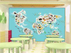 超清矢量复古卡通儿童房地图背景墙3072,免费素材
