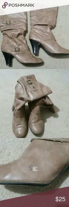 Women's heeled boots 3 inch tan heeled boots with cute buckles! There is a little scuff on the inside of either boot. Reasonable offers accepted Shoes Heeled Boots
