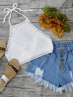 Halterneck Self-Tie Crochet Top Crop Top Outfits, Cute Casual Outfits, Cute Summer Outfits, Summer Clothes, Teen Fashion Outfits, Outfits For Teens, Girl Outfits, Crochet Top Outfit, Crochet Clothes