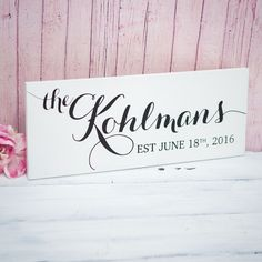 This personalized last name sign is the perfect gift for the couple! Gift the newlyweds with a wedding gift they will never forget and will cherish for a lifetime. This wooden plaque is custom painted